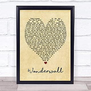 Wonderwall Vintage Heart Quote Song Lyric Print