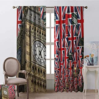 youpinnong Union Jack, Curtains Light Blocking, UK Flags Background with Big Ben Festive Celebrations Loyalty, Curtains in Living Room, W108 x L96 Inch, Pale Coffee Navy Blue Red
