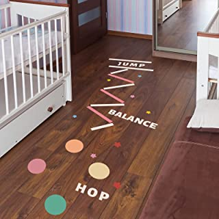 Number Hopscotch Footprint Ground Wall Decor Puzzle Games Lattice Floor Sticker Decals Creative Kids Jumping Grid Game Art...