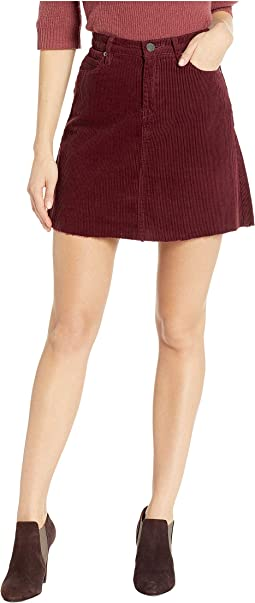 Corduroy Mini Skirt in Merlot