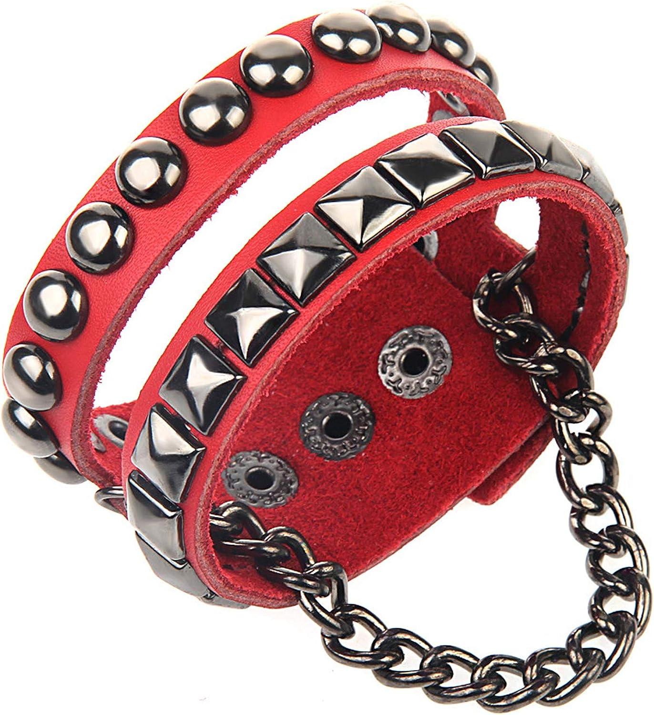 Nsitbbuery Hip Hop Alloy Rivet Chain Wristband Wide Leather Cuff Bracelet