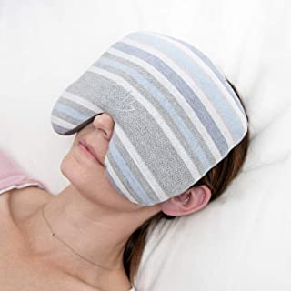 Perfection Collection Migraine Relief Eye Pillow Masks, Flaxseed Filled For Hot and Cold Pain Relief Therapy (Adult, Blue Grey and Ivory Stripe)