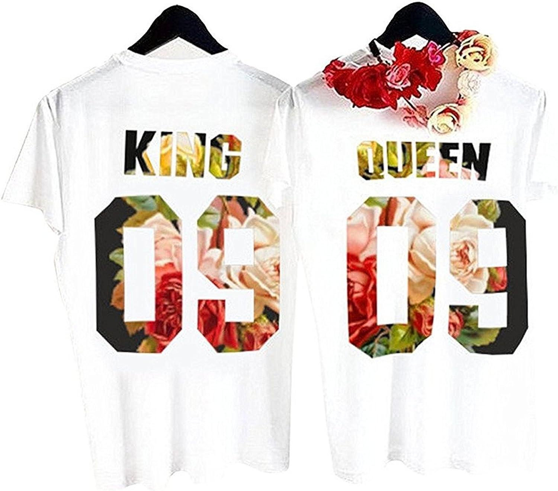 Queque Shine Camiseta King Queen T-Shirt Impresión 09 Piezas de Manga Corta Rey Reina Regalo de Camisa Casual para Amante