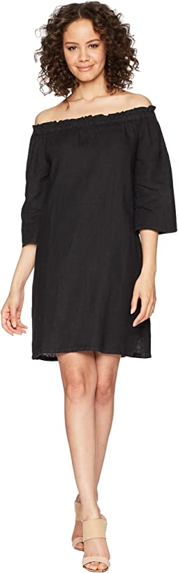 Allen Allen Ruffle Edge Linen Dress