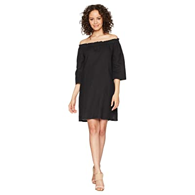 Allen Allen Ruffle Edge Linen Dress (Black) Women