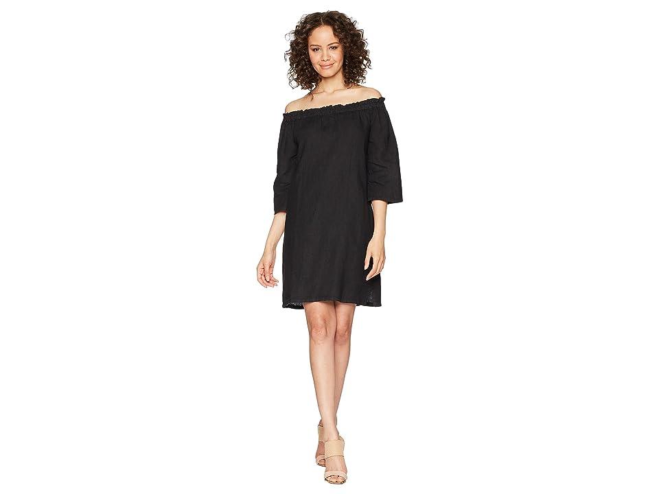 Allen Allen Ruffle Edge Linen Dress (Black) Women