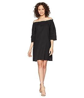 Ruffle Edge Linen Dress