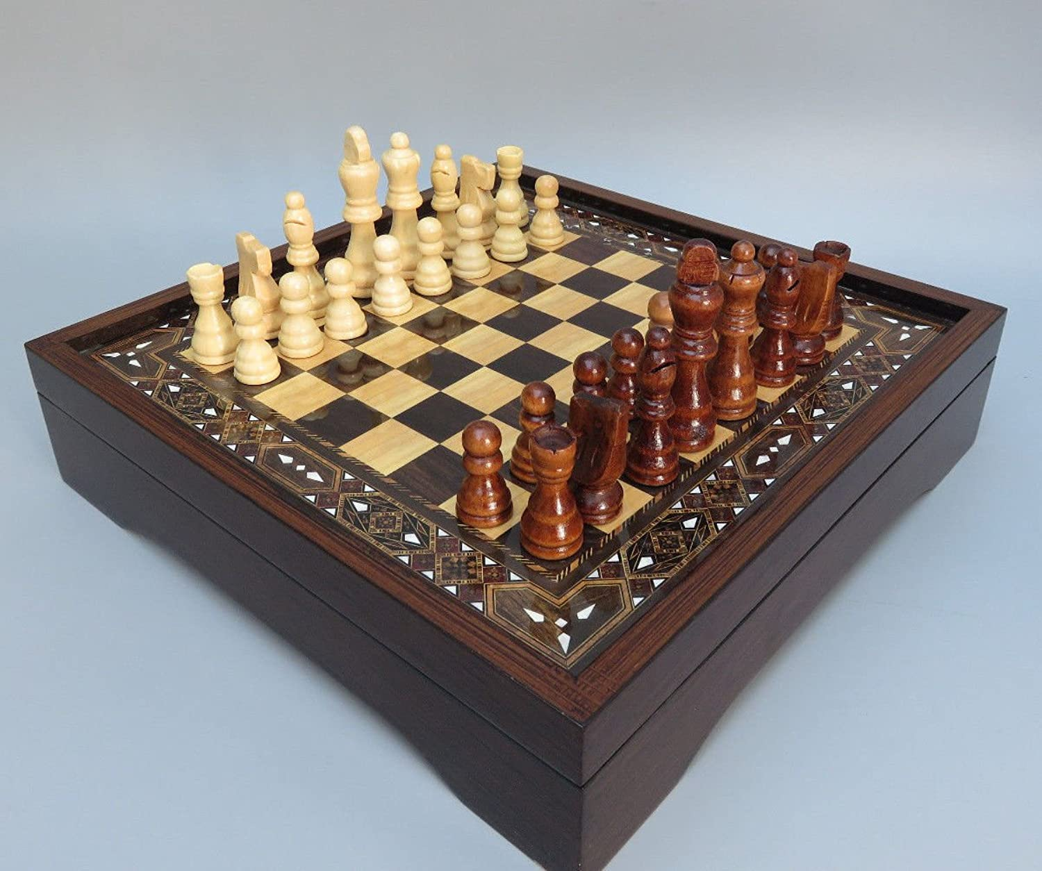 Chessgammon CHESS SET WOODEN CHESS SET BOARD GAME STAR WALNUT STYLE WITH CHESS PIECES