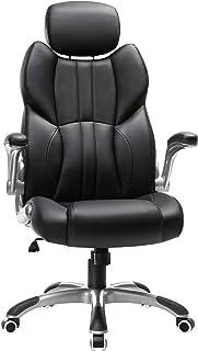 SONGMICS Kontorsstol, ergonomisk snurrstol, med fällbara armstöd, nylonstjärtfot, lastkapacitet 150 kg, svart OBG65BK