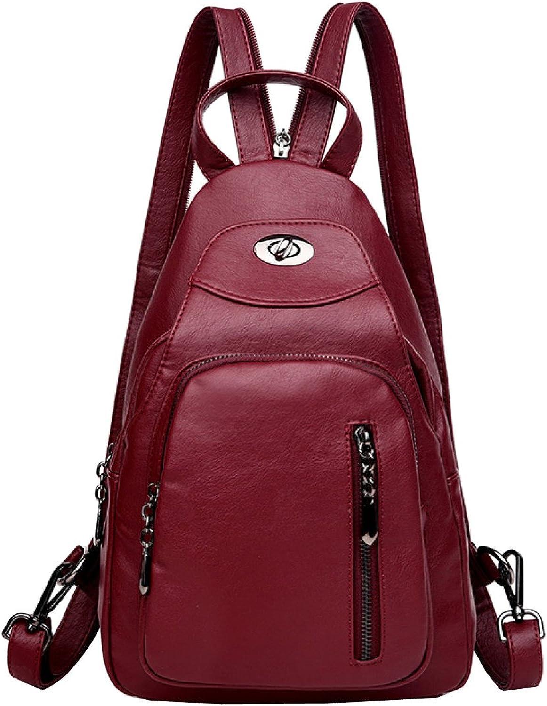 Ms. Shoulder Bag Chest Fashion Antitheft Travel Backpack Lady Shoulder Bag Handbags,RedOneSize