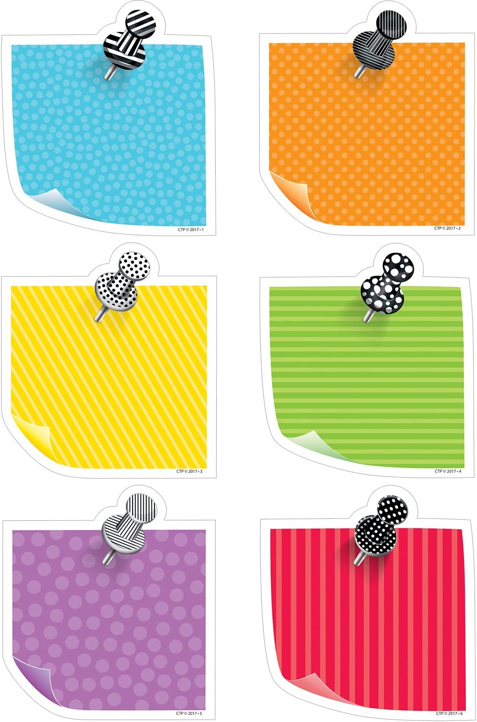 Creative Teaching Press Bold & Bright Sticky Notes Cut Outs 6