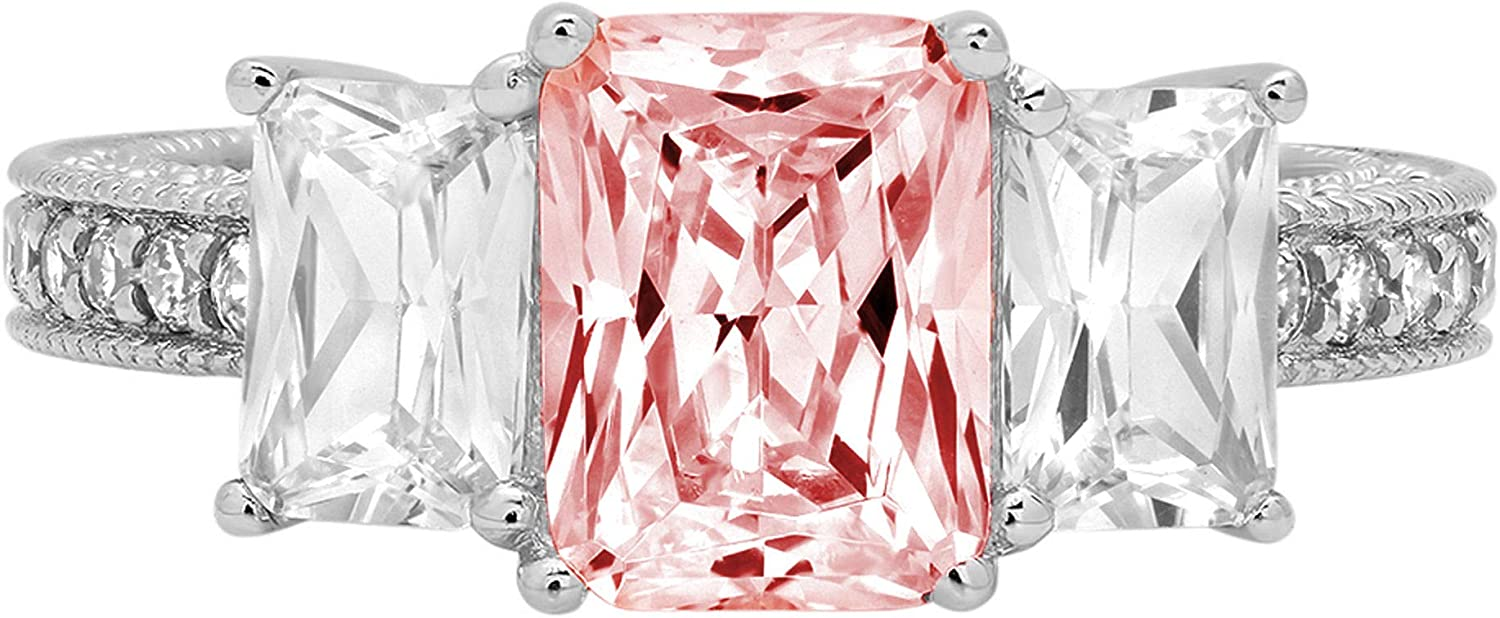 4.26 ct Emerald Round Cut Solitaire 3 stone With Accent Pink Simulated Diamond Ideal VVS1 Engagement Promise Statement Anniversary Bridal Wedding Ring 14k White Gold