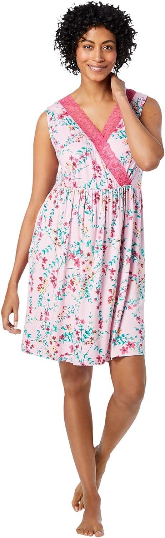 Dreams & Co. Women's Plus Size Lace-Trim Babydoll Sleepshirt