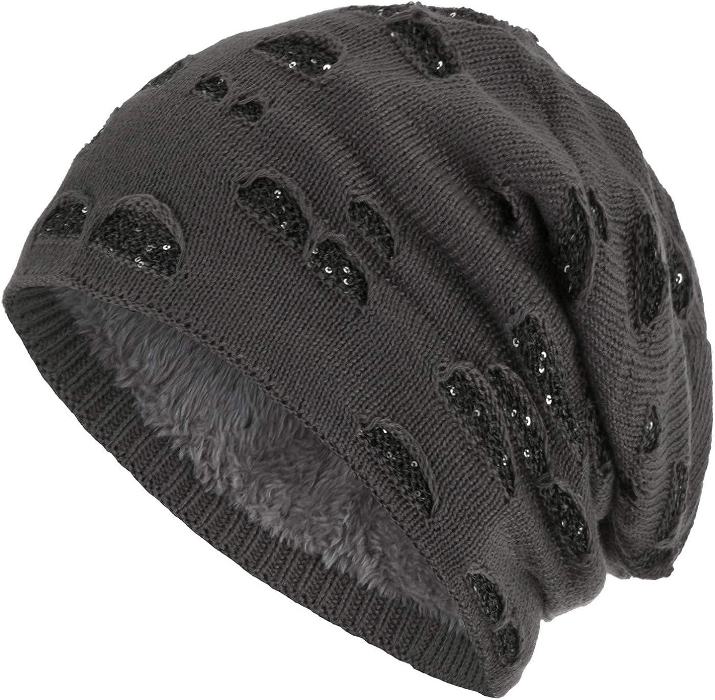 Compagno Beanie Gorro de invierno con suave interior punto agujero elegante con lentejuelas
