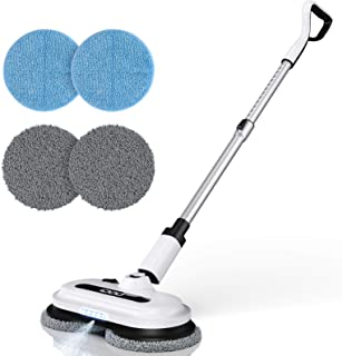 Cordless Electric Spin Mop, Spray Mop with Built-in 300ml Water Tank for Floor Cleaning, Polisher with LED Headlight for H...