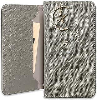 Sony Xperia XZ2 SO-03K ケース 手帳型 マグネットなし おしゃれ 月 星 ムーン チャーム カード収納 カバー (グレー) DoCoMo ドコモ