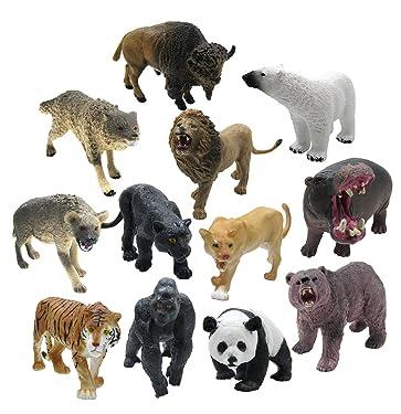 12 Pieces Wildlife Animals Action Figure,Realistic Animals Action Model Toy
