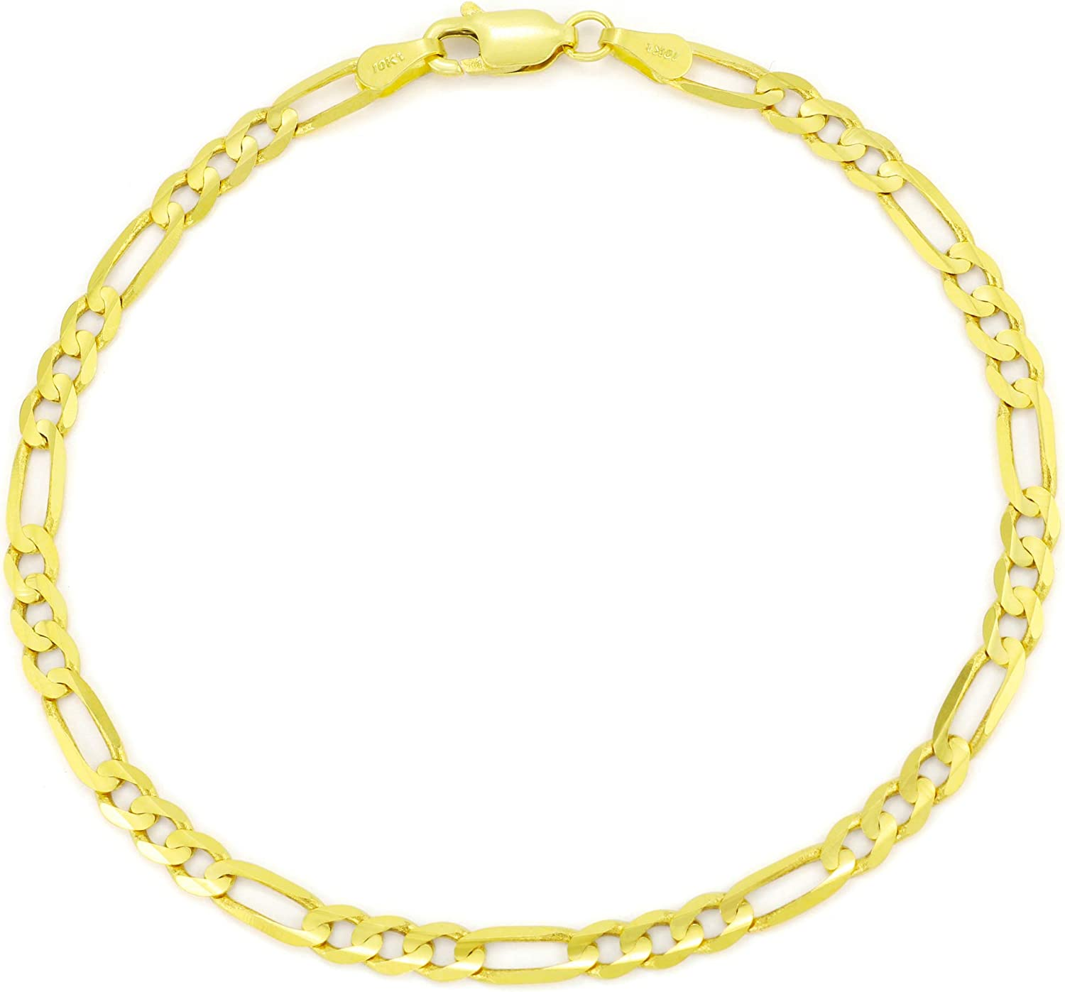 Nuragold Weekly update 10k Yellow Gold latest 4.75mm Solid Chain Link Figaro Bracelet