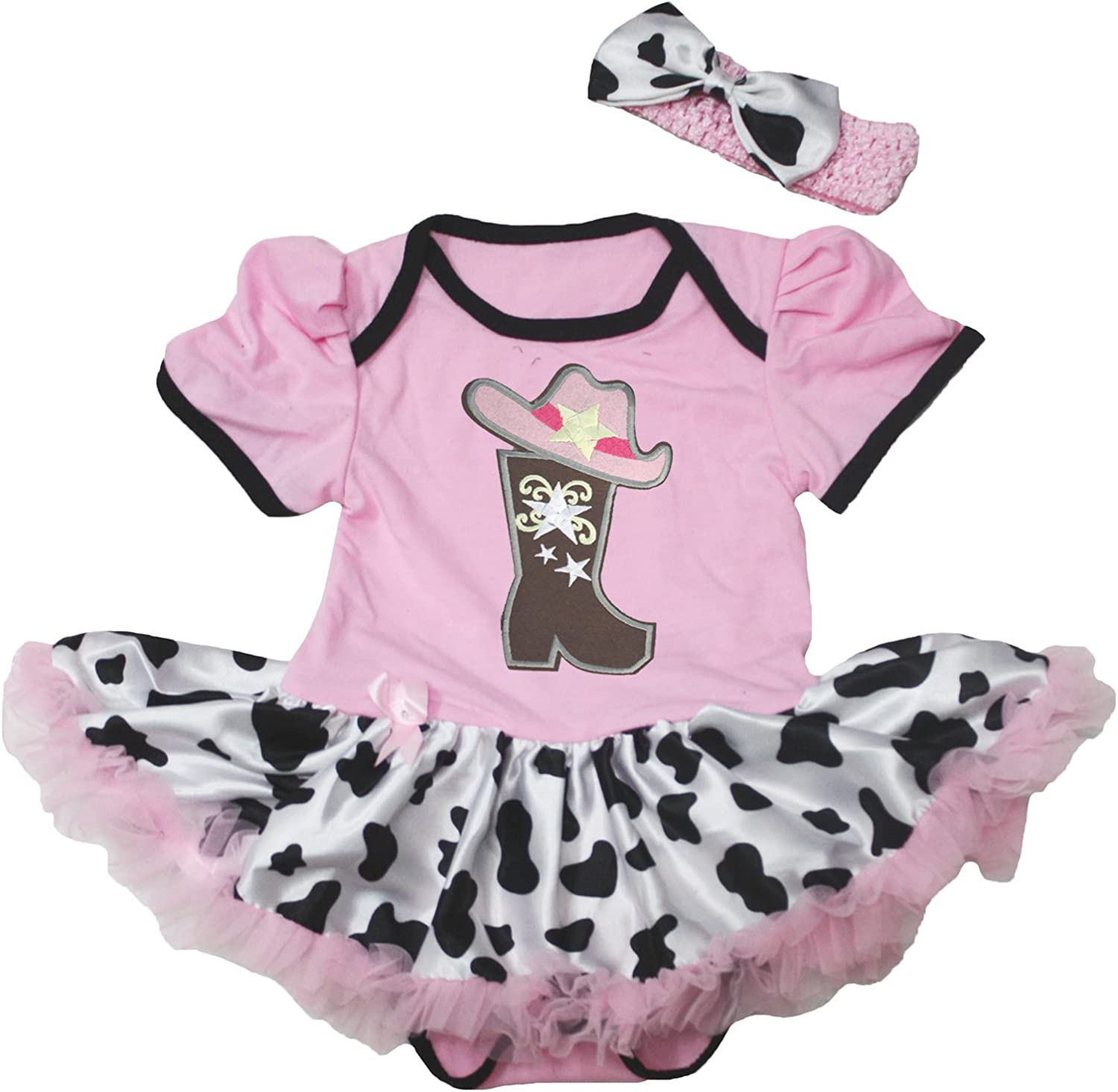 Petitebella Cowgirl Boot OFFicial and Hat Pink Cow Tutu favorite Bodysuit Dre Baby