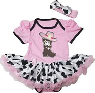 Petitebella Cowgirl Boot and Hat Pink Bodysuit Cow Tutu Baby Dress Nb-18m