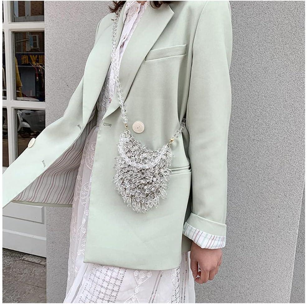 ZYYMMNN Evening Clutch Bags Beaded Purses Women's Wallet Trendy Texture Transparent One-Shoulder Messenger Bag 2x13x2cm-1