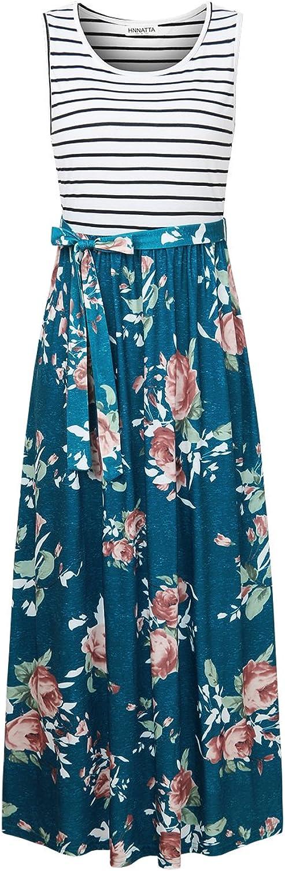 HNNATTA Women's Casual Floral Printed Adjustable Strappy Sleeveless Summer Swing Dress