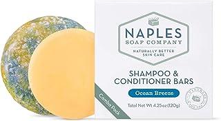 Naples Soap Company Handmade Shampoo Bar + Hair Conditioner Bar Boxed Set, Eco-Friendly Haircare for Nourished & Healthy Hair, Ocean Breeze