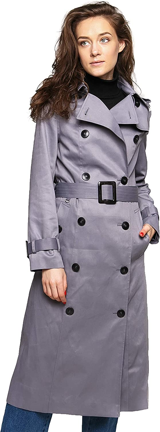 DASTI Women's Trench Coat Double Breasted Slim Long Windproof Active Outdoor Raincoat Womens Iconic