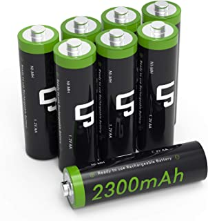 LP AA Ni-MH Rechargeable Battery Pack, 8-Pack Double-A Batteries with 2300mAh High Capacity for Clocks, Remotes, Toys, Cameras, Flashlights &More