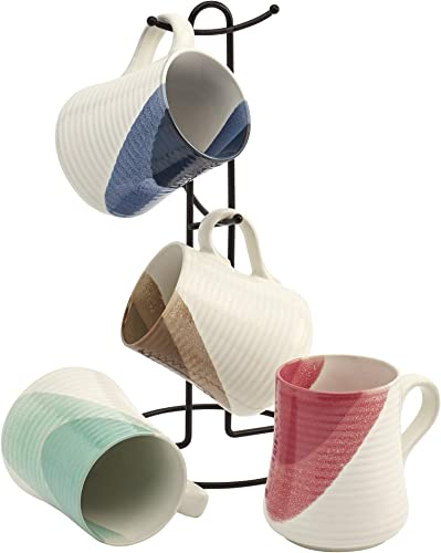 lowest Tabletops Gallery Avenue Mugs- Ceramic Stoneware Microwave Dishwasher Safe Coffee Tea Colorful Mug Tree, 5 Piece Color Dipped Embossed 14 online sale Ounce Mug and Metal outlet sale Rack Set (Red, Blue, Mocha, and Mint) online