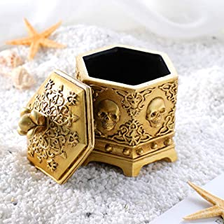 Arola Hexagon Vintage Skull Jewelry Box, Golden Skeleton Head Jewelry Box for Home Desk Organizer Accessory