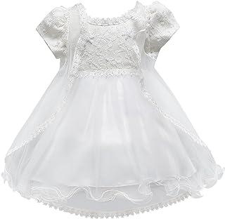 Set// 2 Piezas Blanco Vestido de Tut/ú Encaje Traje de Fiesta Princesas Dress sin Mangas + Sombrero para Beb/és Ni/ñas 3 Tallas a Elegir Happy Cherry