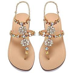 bb838156e azmodo Women s PU Rhinestones Chains Flat Gladiator Sandals W ..