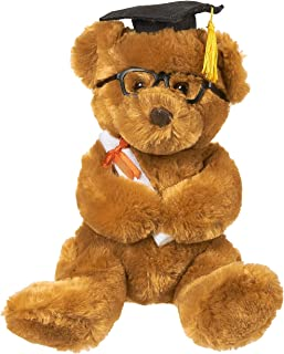 Blue Panda Graduation Plush Bear - Stuffed Animal Louie The Teddy Bear with Glasses, Grad Cap, Diploma and Props - Great College Graduation Gift, 10.5 Inches, Brown