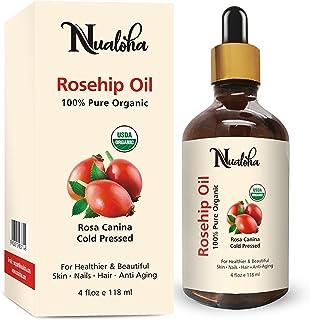 Nualoha USDA Organic Rosehip Oil 4 fl. oz -100% Pure,Natural, Anti Aging Moisturizer Treatment For Face, Skin, Hair, Acne ...