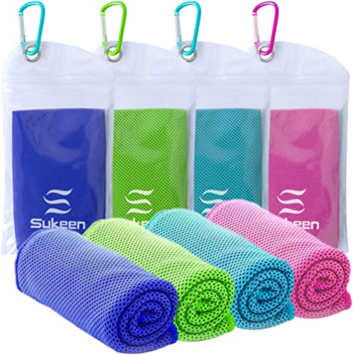 "[4 Pack] Cooling Towel (40""x12""), Ice Towel, Soft Breathable Chilly Towel, Microfiber Towel for Yoga, Sport, Running,..."