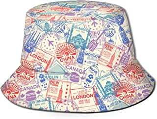 World Visa Rubber Stamps On Passport Mens Womens Trends Fashion Bucket Hat Black