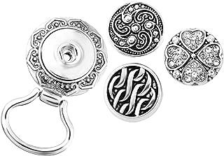 MJartoria 3PCS Interchangeable Snap Buttons Centerpiece Rhinestone Eye Glass Holding Magnetic Brooch