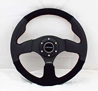 NRG Steering Wheel - 12 (Race) - 320mm (12.60 inches) - Black Leather / Black Suede with Red Stitching - Part # ST-012R/S
