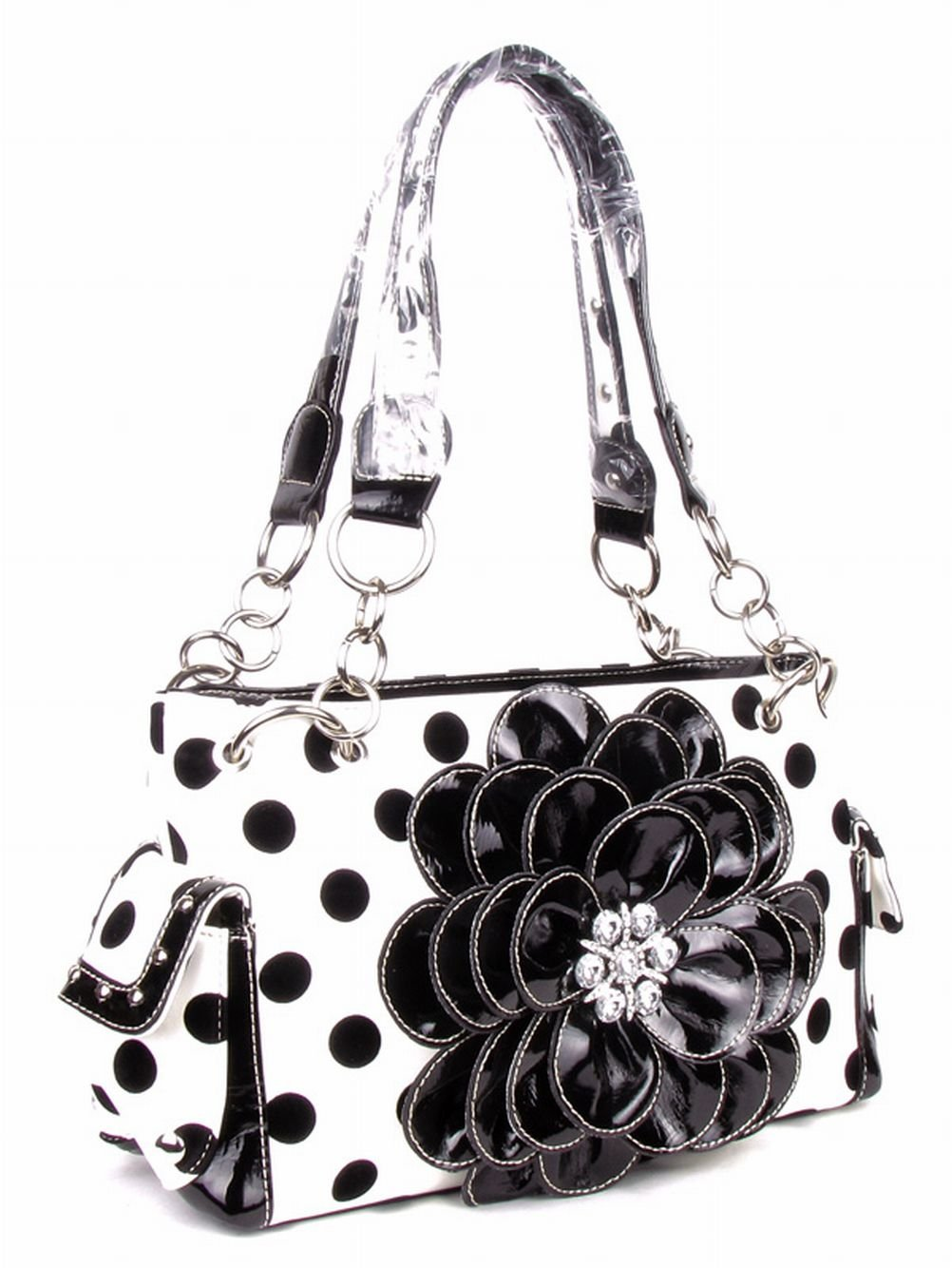 GoCowgirl Polka Dots Rhinestone 3D Flower Handbag Purse with Matching Wallet Free Bracelet