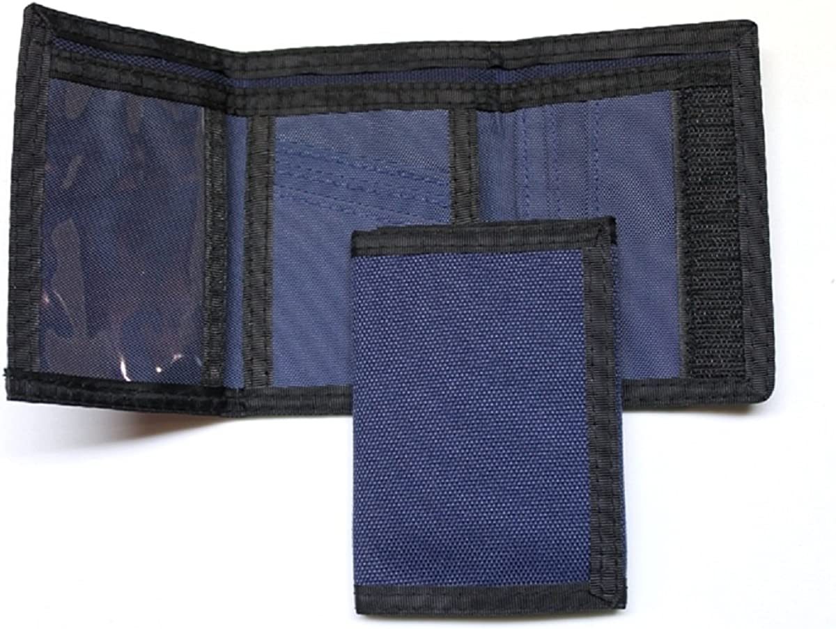 Nylon Trifold Credit Card Wallet - Navy
