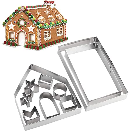 House cutter 4 pieces set Ginger Bread House Fondant cutter. Garden Shed Haunted House cutters Bird House