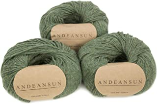 100% Baby Alpaca Yarn (Weight #3) DK - Set of 3 - AndeanSun - Luxuriously Soft for Knitting, Crocheting - Great for Baby Garments, Scarves, Hats, and Craft Projects - (Moss Green Heather)