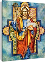 LB Christ Jesus Canvas Wall Art for Living Room Framed Lost Lamb Painting Canvas Prints Wall Decor Religious Christian Home Wall Decorations for Bedroom Bathroom,16x20 inches