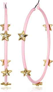 Steve Madden Women's Rhinestone Star Studded Large Pink Hoops in Yellow Gold-Tone Earrings, One Size