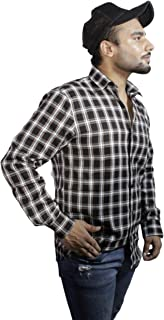 Spanish One Look Mens Casual Long Sleeve 100% Cotton Regular Fit Button Down Casual Shirts Dress in Black Printed Check Shirt for Men