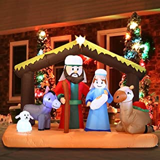 Joiedomi Christmas Inflatable Decoration 6.5 ft Nativity Scene Inflatable with Build-in LEDs Blow Up for Christmas, Party Indoor, Outdoor, Yard, Garden, Lawn Décor.