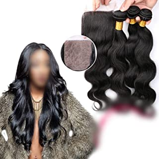 Natural Hairpieces Brazilian Bady Wave Hair With Closure Human Hair Bundles With 4x4 Lace Closure Free Part Hair Extensions Natural Color Hair (Color : Black, Size : 16 inch)