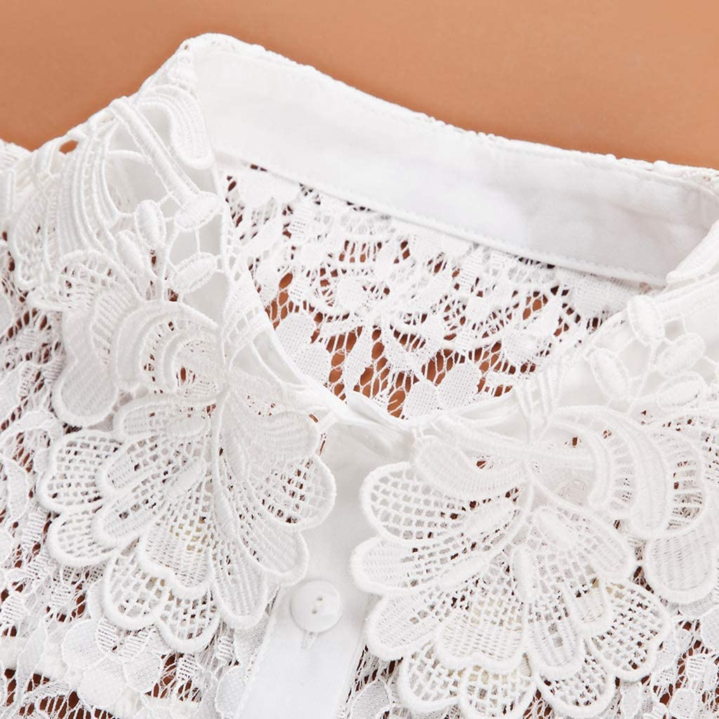YOUSIKE Neck Chain, Women Blouse Sweater Round Neck Fake False Collar Detachable Sheer Embroidered Floral Lace Solid Half Shirt Tie Button Apparel Adjustable
