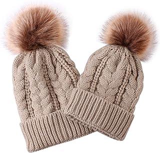 Puseky 2 czapki z dzianiny dla rodzica i dziecka, pasująca do członków rodziny, na zimę, ciepła, szydełkowana czapka Beanie